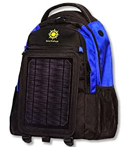 """SolarGoPack solar powered backpack, charges mobile devices, 12k mAh Battery, Black & Blue """"Stay Charged my Friends"""""""