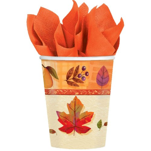 Watercolor Leaves - 9 oz. Paper Cups Party Accessory