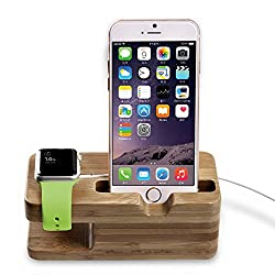 Apple Watch Stand, Iwatch Bamboo Wood Charging Stand Bracket Docking Station Stock Cradle Holder for Both 38mm and 42mm