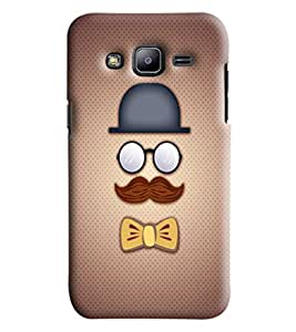 Blue Throat Men With Eyes And Moustache Printed Desginer Back Cover/Case For Samsung Galaxy J2