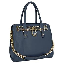 MG Collection Haley Studded Structured Satchel Shoulder Bag, Dark Blue, One Size