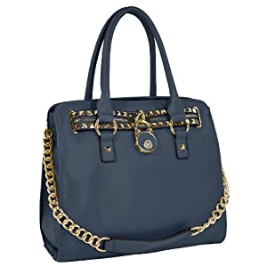 HALEY Dark Blue Gold Studded Structured Satchel Purse Style Bowler Tote Handbag