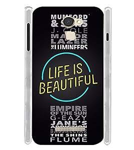Life is Beatuiful Typographic Soft Silicon Rubberized Back Case Cover for Panasonic Eluga Mark