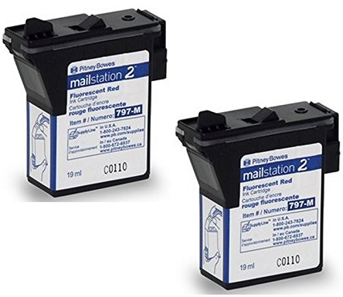 Twin-Pack of Genuine Original Pitney Bowes Brand 797-M Fluorescent Red Ink Cartridges for: MailStation 2 and K7MO Postage Machines (Pitney Bowes Postage Machine Ink compare prices)