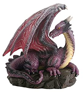 Purple Dragon On Rock Fantasy Figurine