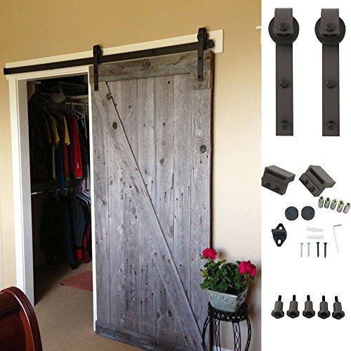 Pro Modern Sliding Barn Door Track Hardware Kit Steel Wood Set 6.6 FT Dark Brown (Pottery Barn Cabinet compare prices)