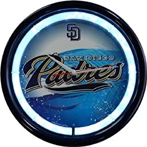 San Diego Padres Plasma Neon Clock by Authentic Street Signs