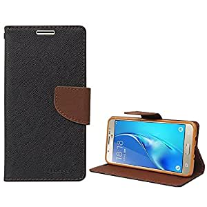 MHUB Mercury Goospery Fancy Diary Wallet Flip Case Cover for Samsung Galaxy ON8- BLACK-BROWN