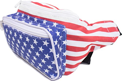 SoJourner Bags USA American Flag Stars and Stripes Fanny Pack (Red, White, Blue) (Pattern Fanny Pack compare prices)