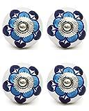 Knobs & Hooks FBK-136 Ceramic Cabinet Knob; White+Blue; (Set of 4 pieces)