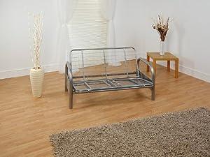 mexico double 4ft6 tri fold silver futon sofa bed frame