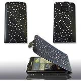 Flip Case Ledertasche Strass Steine Schwarz f�r Samsung I9100 Galaxy S2 + 5 x Displayschutfolief�r I9100, Schutzh�lle Handytasche Etui Leder Etui