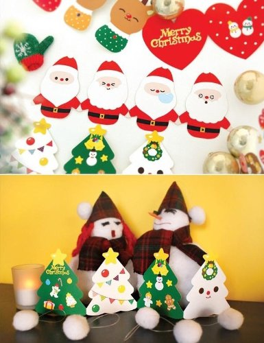 ONOR-Tech Pack of 10 Cute Lovely Christmas Greeting Card with Envelope and Sticker(Type C)