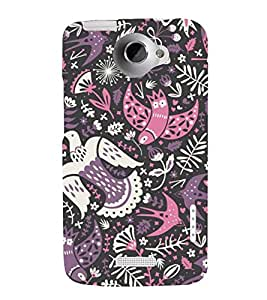 colourful birds in black background ethnic pattern 3D Hard Polycarbonate Designer Back Case Cover for HTC One X :: HTC One XT :: HTC 1X