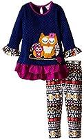 Rare Editions Little Girls' Navy Owl Legging Set