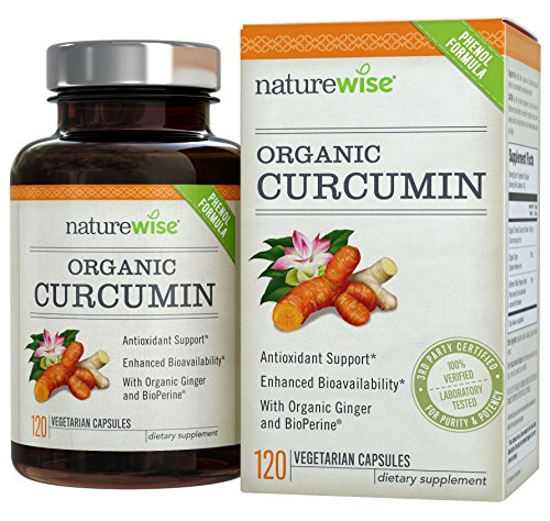 NatureWise ORGANIC Curcumin Tumeric 1650mg,180 caps with 95% Curcuminoids for Cardiovascular Support & Healthy Joints with Advanced Absorption (Gi Protect compare prices)