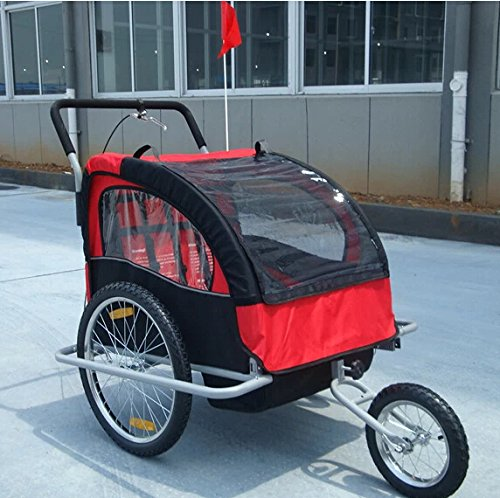 Honeyway 2In1 Double Baby Bicycle Bike Trailer /Stroller /Jogger (Red And Black) front-364806