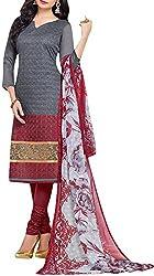 VIDA Women's Cotton Salwar Suit Material (Grey)