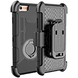iPhone 6S Case, iPhone 6S / 6 Holster Defender Case E LV Shock-Absorption / High Impact Resistant Armor Holster Defender Case Cover with Kickstand and Belt Swivel Clip for iPhone 6S / iPhone 6 with 1 Stylus, 1 Screen Protector and 1 Microfiber (Black circle)