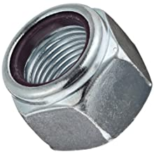 "Steel Hex Nut, Zinc Plated Finish, Grade 2, Self-Locking Nylon Insert, Right Hand Threads, 3/8""-16 Threads, 0.622"" Width Across Flats (Pack of 100)"
