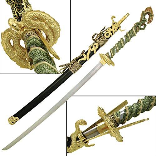 Serpent Dragon Samurai Sword Collectible Steel Katana With Golden Dragon Guard