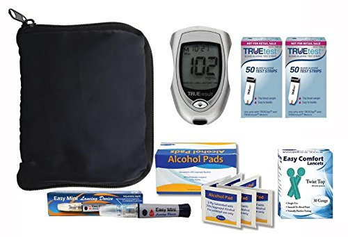 True Result Blood Glucose Monitoring System, 100 Count True Test Strips, 100 Count 30g Lancets, 100 Alcohol Prep Pads