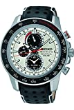 Seiko Sportura Solar Black Leather 100 M Stainless Steel Case Chronograph Watch SSC359 thumbnail