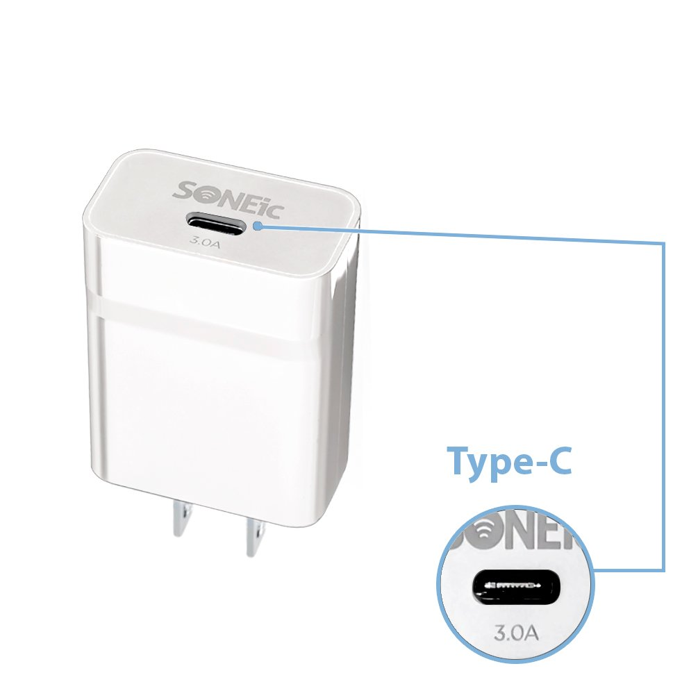 new soneic usb type c rapid wall charger 15 watt 3 0 amp 3a white ebay. Black Bedroom Furniture Sets. Home Design Ideas