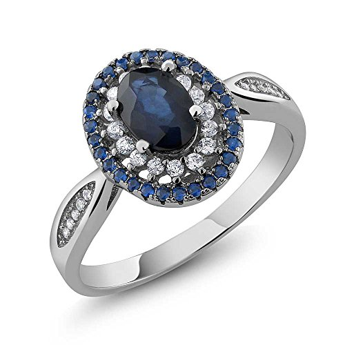 Blue Sapphire 925 Sterling Silver Women's Engagement Ring (1.62 cttw, 7X5MM Oval Cut, Available in size 5, 6, 7, 8, 9) (Sterling Gem Rings compare prices)
