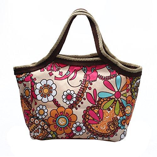 Borsa Borsetta Handbag in Nylon Disegno Girasole Porta Pranzo Multiuso Moda