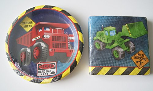 Construction Truck Party Supply Dinner Kit - Dinner Plates and Napkins
