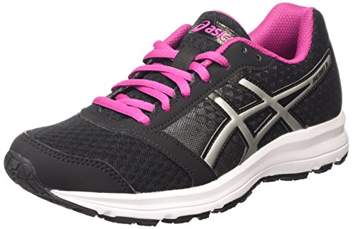 ASICS - Patriot 8, Zapatillas de Running Mujer, Negro (black/silver/berry 9093), 39.5 EU