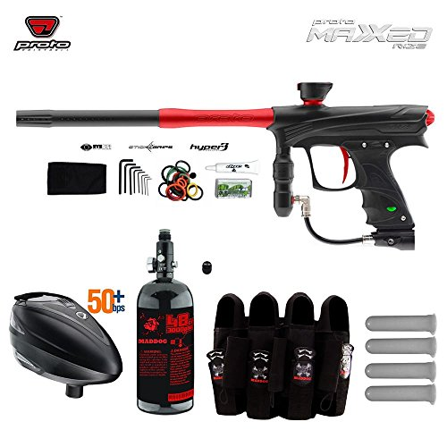 Proto Rize MaXXed Paintball Gun w/ Tank + Dye Rotor Hopper & Pro Harness Combo Package - Black / Red (Dye Proto Hopper compare prices)