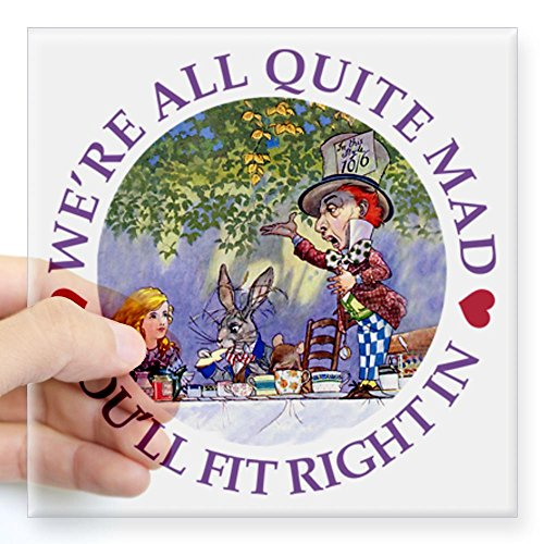 Cafepress Mad Hatter'S Tea Party Square Sticker 3 X 3 - Standard Clear