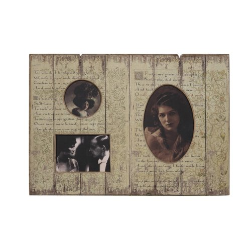 Distressed Cream Wood Plaque With 3 Picture Frames front-647149