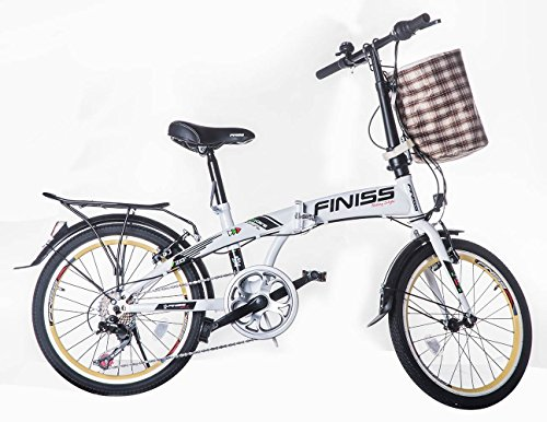 SHINEWOOD(シャインウッド)折りたたみ自転車 20インチ かご/荷台付 イルカ型フレーム シマノ7段変速 (WHITE)