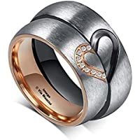 Via Mazzini 316L Stainless Steel Connected Hearts Crystal Couple Rings For Me...