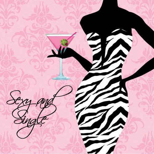 Creative Converting Sexy and Single 16 Count 3-Ply Paper Beverage Napkins, Sassy and Sweet