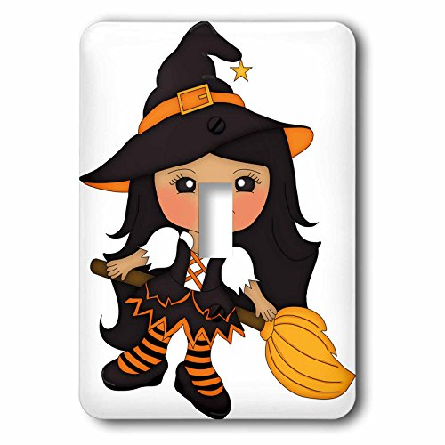 Anne Marie Baugh - Halloween - Cute Witch Illustration On Her Broom Illustration - Light Switch Covers - single toggle switch (Cute Halloween Pic)