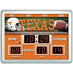 Texas Longhorns NCAA 14x19 Scoreboard Clock Thermometer by Fans With Pride