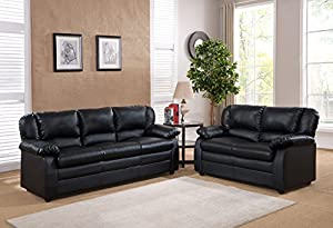 kings brand furniture faux leather living room set black