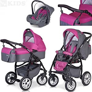 PREMIUM 3 en 1 Carrito PASSO convertible con capazo, saco para las piernas, bolsa para pañales, capota y silla de coche (grupo 0+) / 6 diseños de color disponibles, Color:F6 - magenta