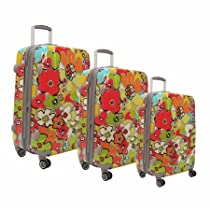 Hot Sale Luggage America HD-3200-3-AQ Olympia Blossom 3 pc Hard case Travel Set