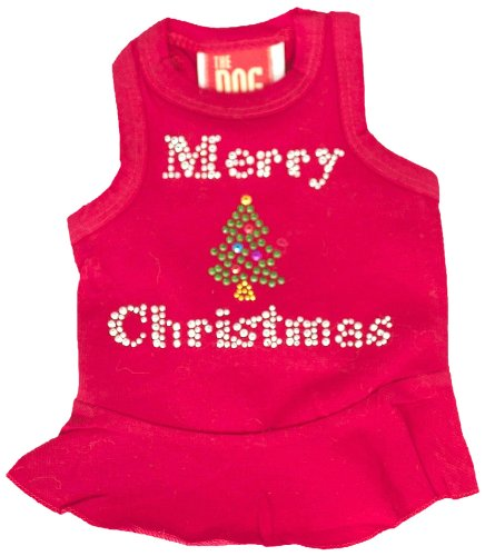 The Dog Squad Merry Christmas Tree Dress Christmas T-Shirt For Pets, X-Small, Red