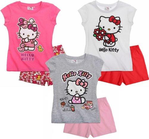 Hello Kitty Pyjama 2014 Kollektion 86 92 98 104 110 116 122 128 Schlafanzug Kurz Mädchen Shorty Shortie Kurz (86 - 92, Darkrosa Ducks)