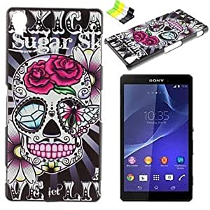 GENERIC Rose Skull Pattern PC Hard Case and Phone Holder for Sony Xperia Z3 #02645257