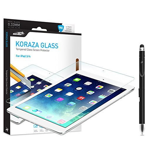 Ipad 3 and 4 Screen Protector Tempered Glass Sentey® Koraza 9h Tablet 0.33 Mm Bundle with Free Metal Stylus Touch Screen Pen {Lifetime Warranty} Ls-11112