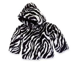 Mud Pie Baby Girls\' Zebra Faux Fur Coat, Multi, 12 18 Month