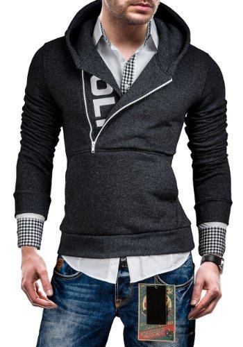 BOLF Men's Sweatshirt 01 Graphite M [1A1] Men's Half-Zip Closure Sweatshirt Hoodie