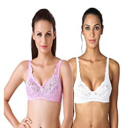 Bodyline Full Coverage Lacy White and Pink Bra